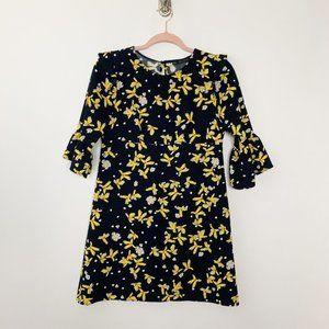Zara Basic Bell Sleeve Floral Print Dress #4674